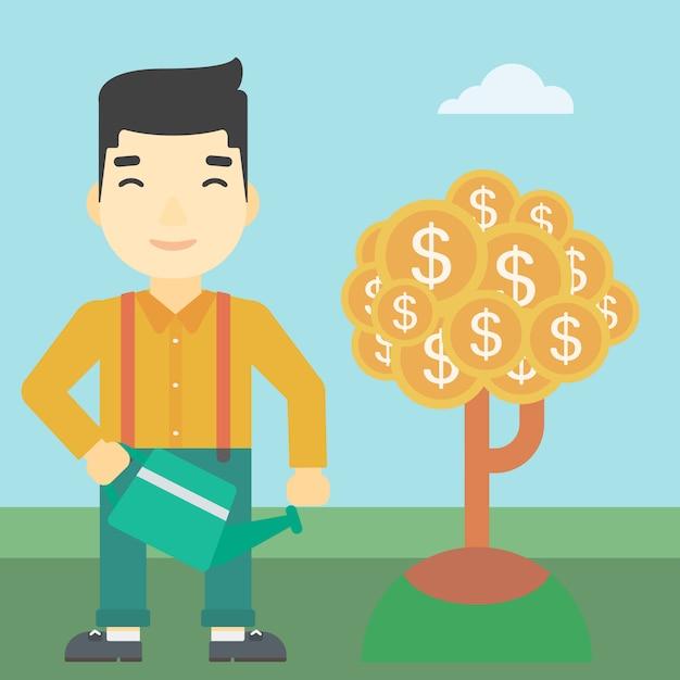 Homem, aguando, dinheiro, árvore Vetor Premium