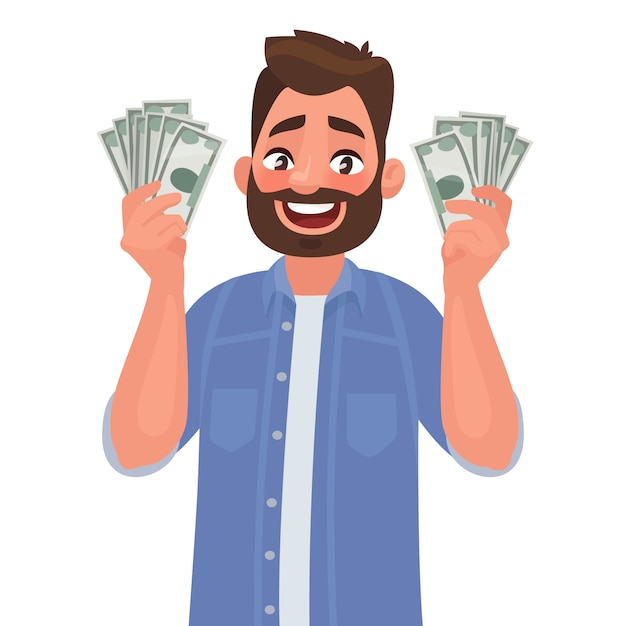 Homem alegre com notas de dinheiro em suas mãos. Vetor Premium