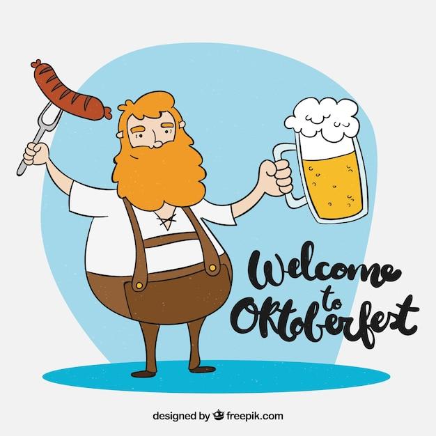 Homem alemão desenhado a dedo com cerveja e salsicha Vetor grátis