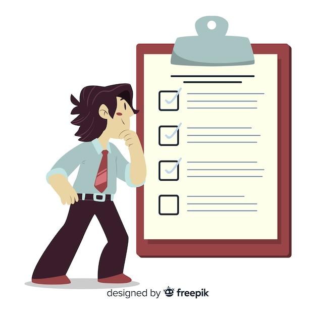Homem, analisar, lista lista ilustração Vetor grátis