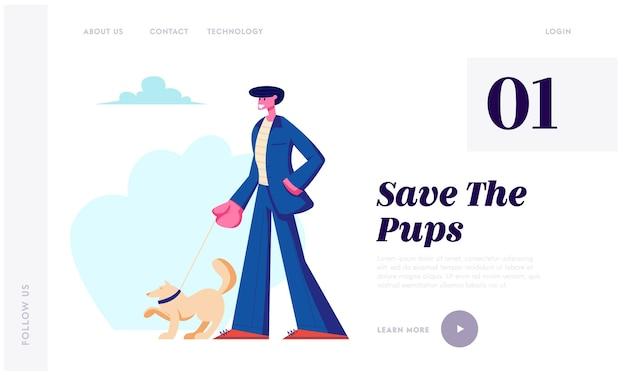 Homem andando com cachorro ao ar livre. Vetor Premium