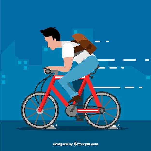 Homem andando de bicicleta com design plano Vetor grátis