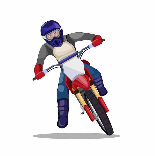 Homem andando de bicicleta de sujeira de motocross, trilha de moto piloto nas curvas na ilustração plana dos desenhos animados, isolada no fundo branco Vetor Premium