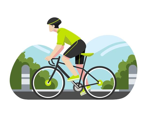 Homem andando de bicicleta na rua ilustração vetorial Vetor Premium