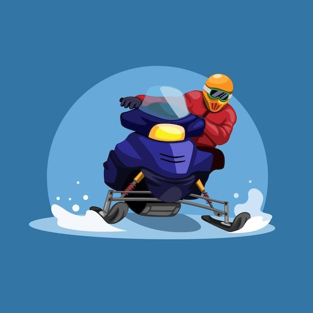 Homem andando de corrida de motos de neve no conceito de temporada de inverno na ilustração dos desenhos animados Vetor Premium