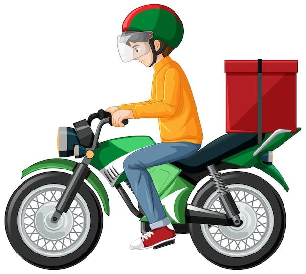 Homem andando de scooter em branco Vetor grátis
