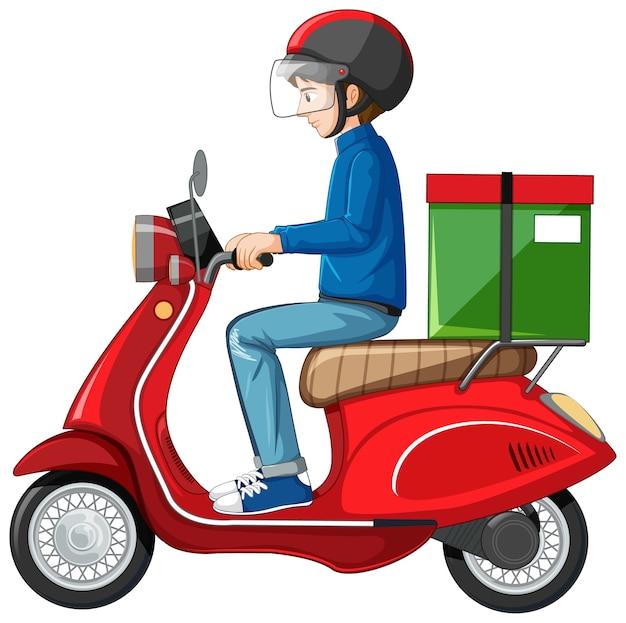 Homem andando de scooter em fundo branco Vetor grátis