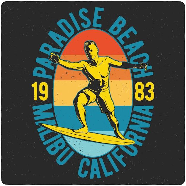Homem andando na prancha de surf Vetor Premium