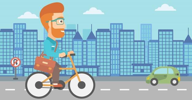 Homem, andar de bicicleta para o trabalho. Vetor Premium