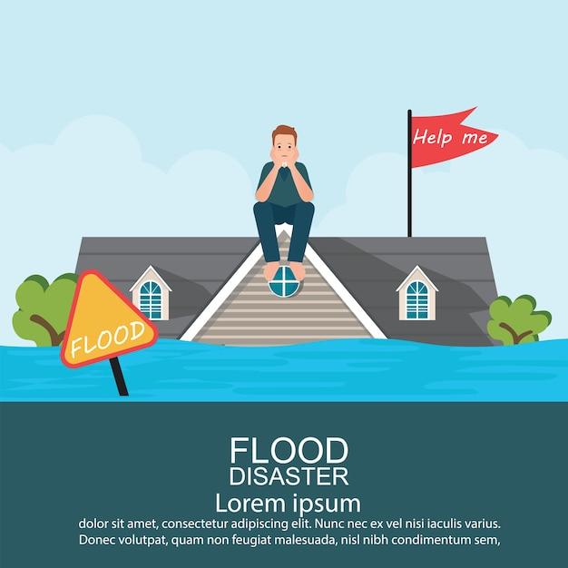 Homem ansioso que senta-se no telhado da casa após a inundação da água. Vetor Premium
