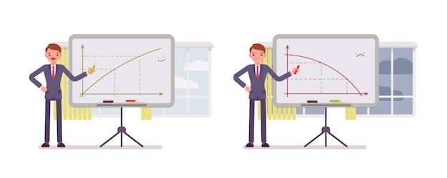 Homem aponta para gráficos positivos e negativos no quadro branco Vetor Premium