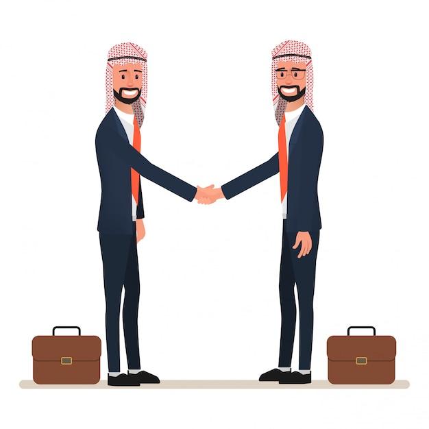 Homem árabe apertando as mãos ao negócio parceria. Vetor Premium