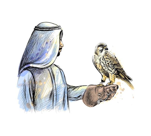 Homem árabe com um falcão de um toque de aquarela, esboço desenhado à mão. ilustração de tintas Vetor Premium