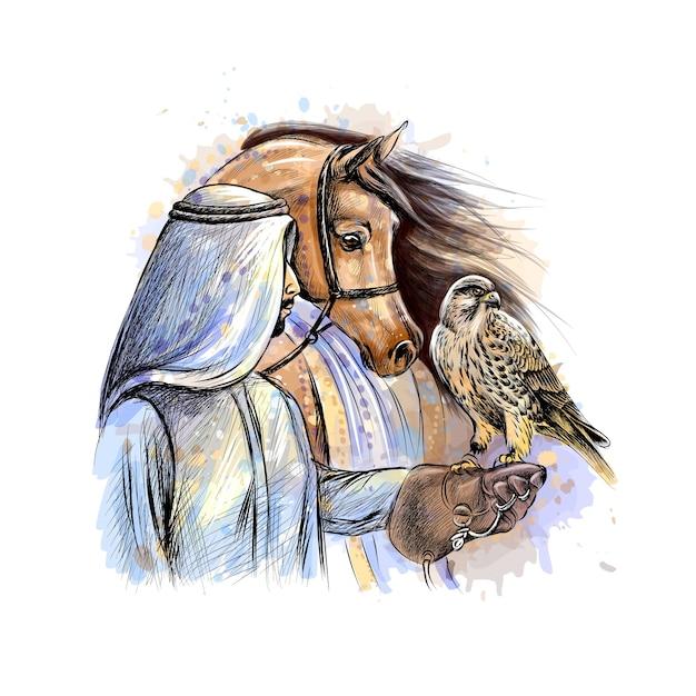 Homem árabe com um falcão e um cavalo de um toque de aquarela, esboço desenhado à mão. ilustração de tintas Vetor Premium