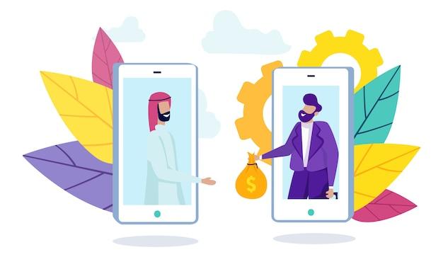 Homem árabe e funcionário do banco na tela do smartphone. Vetor Premium