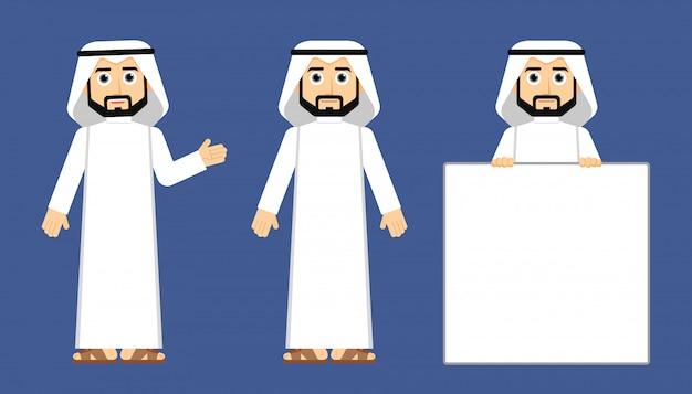 Homem árabe khaliji Vetor Premium