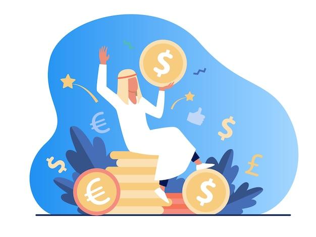 Homem árabe sentado na pilha de moedas de ouro. dólar, dinheiro, ilustração em vetor plana dinheiro. finanças e riqueza Vetor grátis