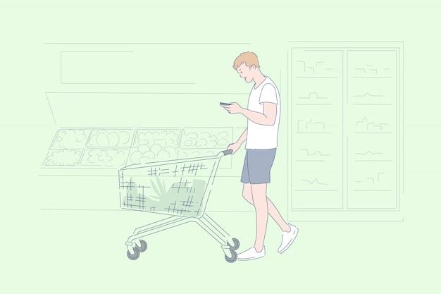 Homem às compras na ilustração de supermercado Vetor Premium