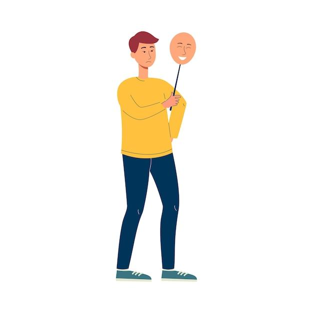 Homem asiático dos desenhos animados segurando uma máscara feliz sobre o rosto triste - adolescente escondendo a emoção e a raiva e fingindo estar bem. ilustração. Vetor Premium
