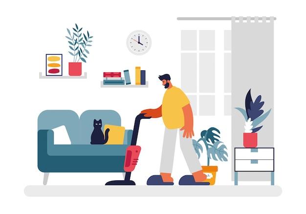Homem aspira a ilustração do quarto. personagem masculina em camiseta amarela e chinelos com aspirador de pó vermelho, limpeza de sala de estar. sofá verde com gato preto e plantas caseiras e livros nas prateleiras vetor plana. Vetor Premium