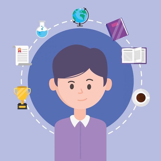 Homem avatar e aprendizagem on-line Vetor Premium