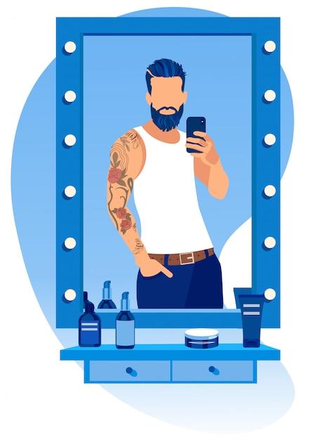 Homem barbudo fazendo selfie no espelho na barbearia Vetor Premium