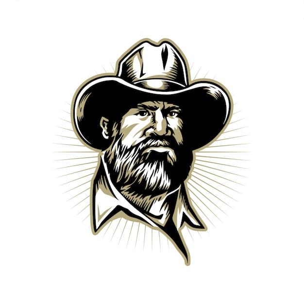 Homem barbudo mão ilustrações desenhadas para design de logotipo Vetor Premium