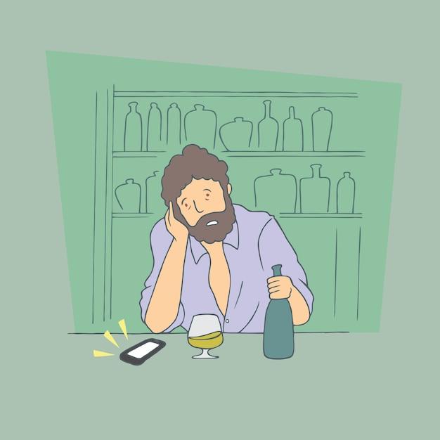 Homem bêbado. mão desenhada estilo vector doodle design ilustrações. Vetor Premium