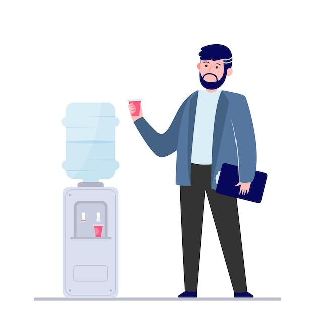 Homem bebendo água no refrigerador Vetor grátis