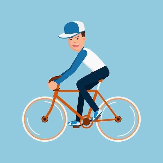 Homem, bicicleta equitação Vetor Premium