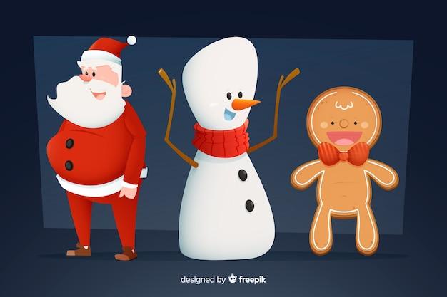 Homem-biscoito boneco de neve e papai noel coleção de natal Vetor grátis