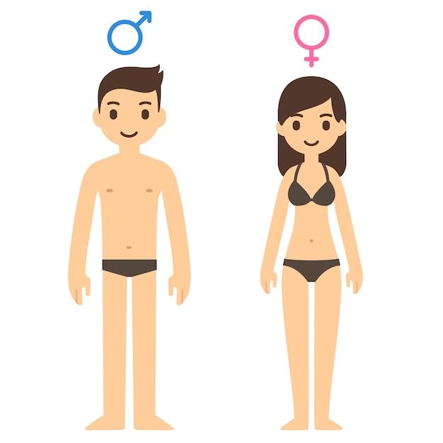 Homem bonito dos desenhos animados e mulher em roupa interior com símbolos masculinos e femininos acima. Vetor Premium