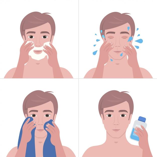 Homem bonito passos barbear com espuma e limpeza conceito de cuidados da pele do rosto Vetor Premium