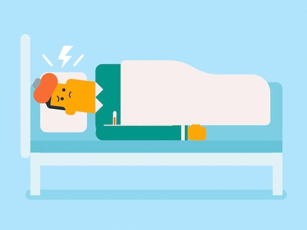 Homem branco do caucasain doente que coloca na cama. Vetor Premium
