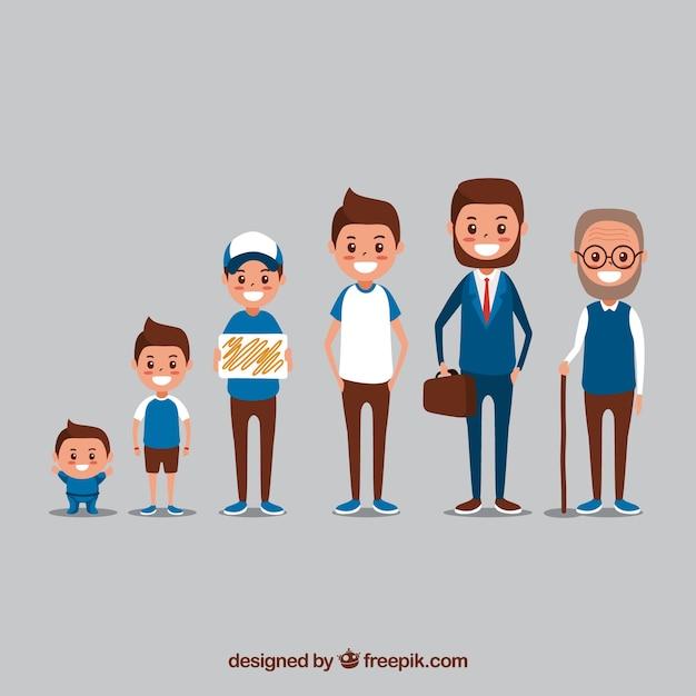 Homem branco em diferentes idades com design plano Vetor grátis