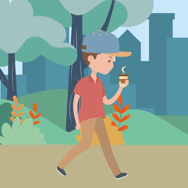 Homem, caricatura, com, café assalta, parque Vetor grátis