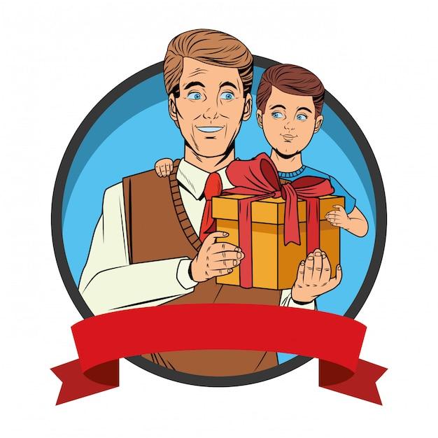Homem, carregar, um, menino, com, um, caixa presente Vetor grátis