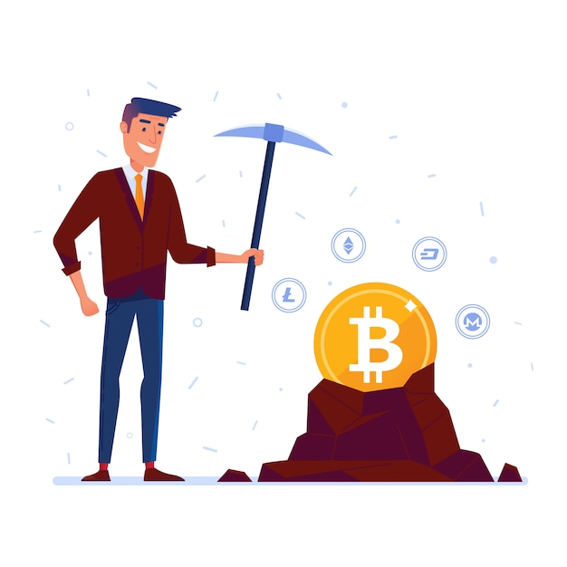 Homem caucasiano, mineração, cripto, moeda corrente, moedas Vetor Premium