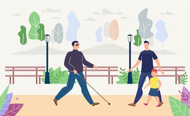 Homem cego andando no parque plana Vetor Premium