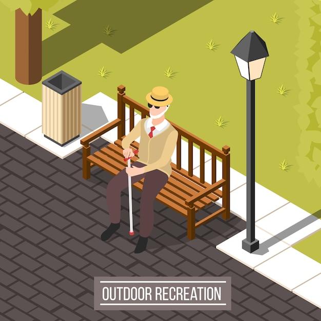 Homem cego ao ar livre Vetor grátis