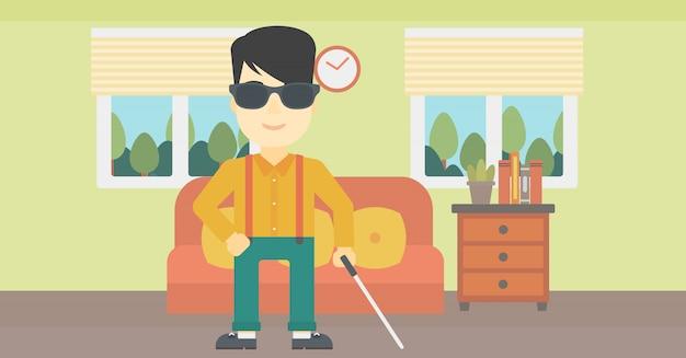 Homem cego com ilustração vetorial de vara. Vetor Premium