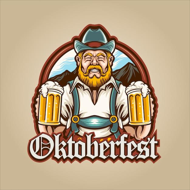 Homem cerveja oktoberfest Vetor Premium