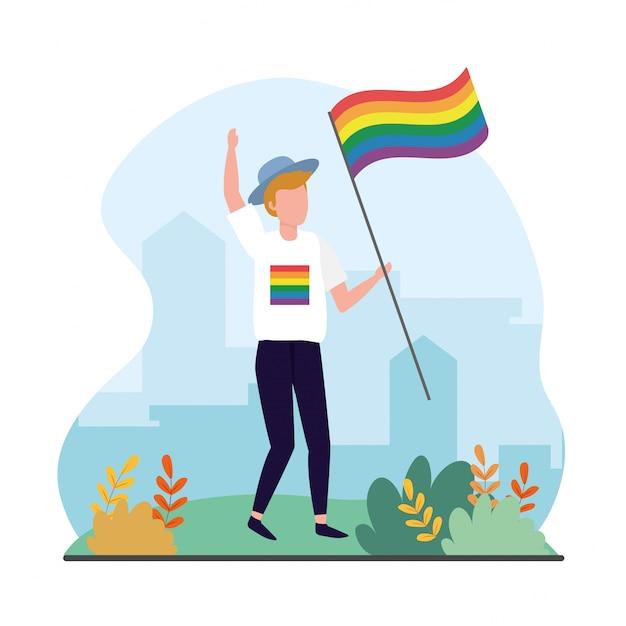 Homem, com, arco íris, bandeira, para, lgbt, celebração Vetor Premium