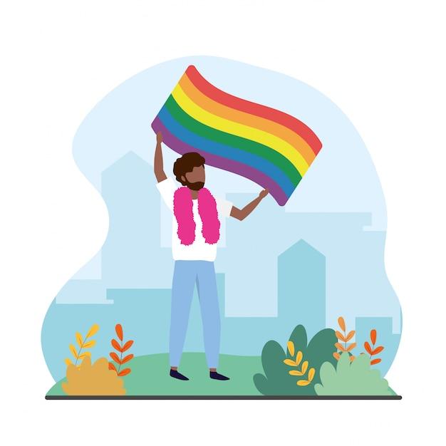 Homem, com, arco íris, bandeira, para, lgbt, orgulhoso Vetor Premium