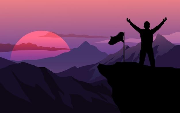 Homem com bandeira em pé no topo da montanha Vetor Premium