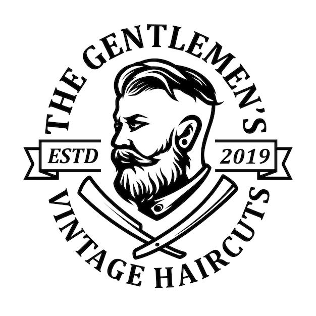 Homem com barbudo e barbearia ícone logotipo design Vetor Premium