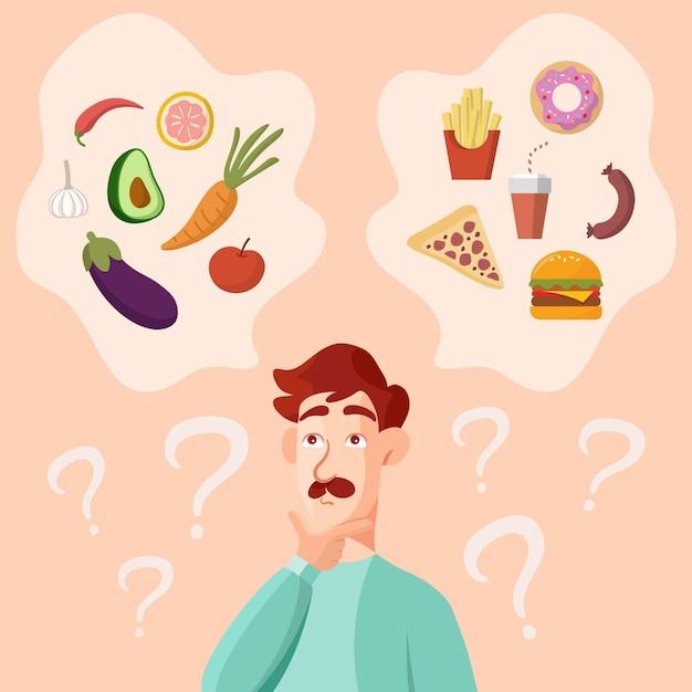 Homem com bigode pensando em comida saudável e rápida Vetor grátis