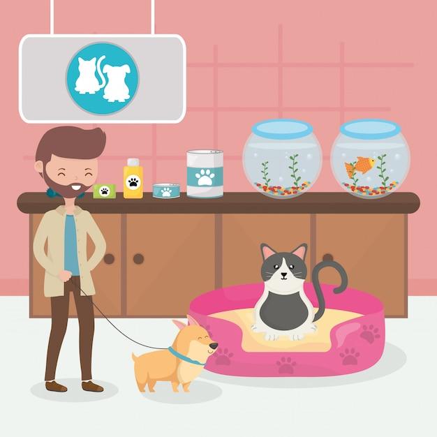 Homem com cachorro e gato na cama veterinário pet care Vetor Premium