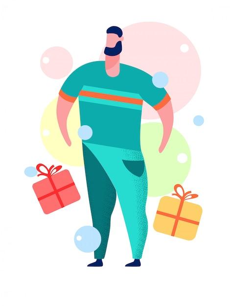 Homem, com, caixa presente, caricatura, vetorial, ilustração Vetor Premium