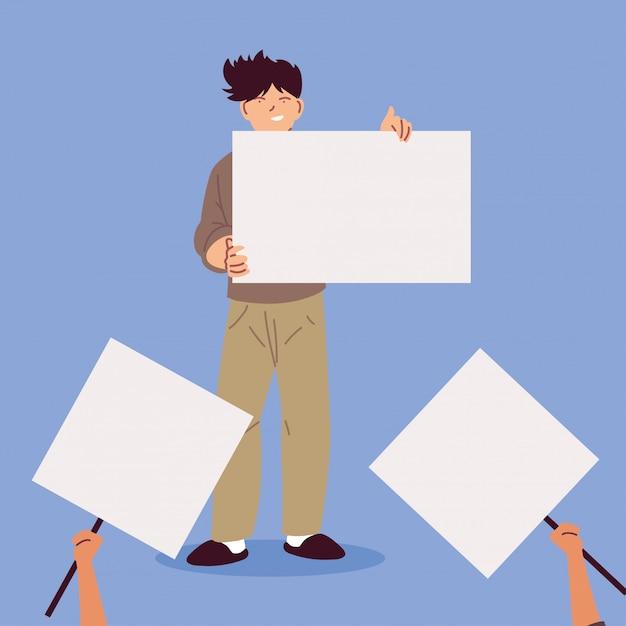Homem com cartaz branco, símbolo de protesto Vetor Premium